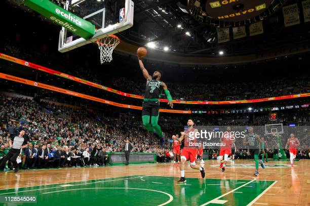 Jaylen Brown of the Boston Celtics goes to the basket against the Houston Rockets on March 3 2019 at the TD Garden in Boston Massachusetts NOTE TO...