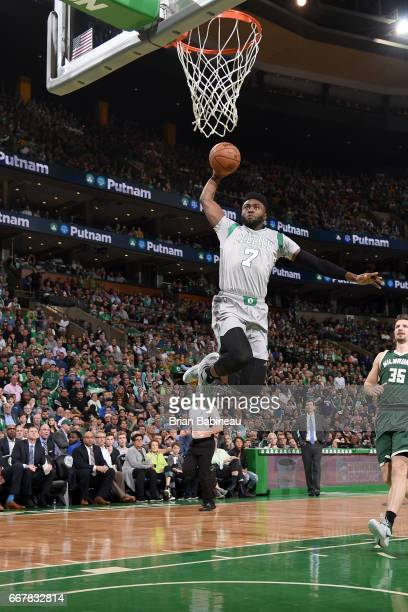 Jaylen Brown of the Boston Celtics goes to the basket against the Milwaukee Bucks on April 12 2017 at the TD Garden in Boston Massachusetts NOTE TO...