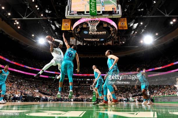 Jaylen Brown of the Boston Celtics goes to the basket against the Charlotte Hornets on November 10 2017 at the TD Garden in Boston Massachusetts NOTE...