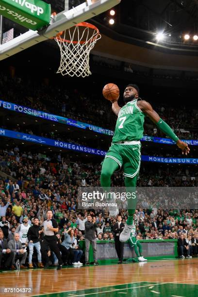 Jaylen Brown of the Boston Celtics goes to the basket against the Golden State Warriors on November 16 2017 at the TD Garden in Boston Massachusetts...