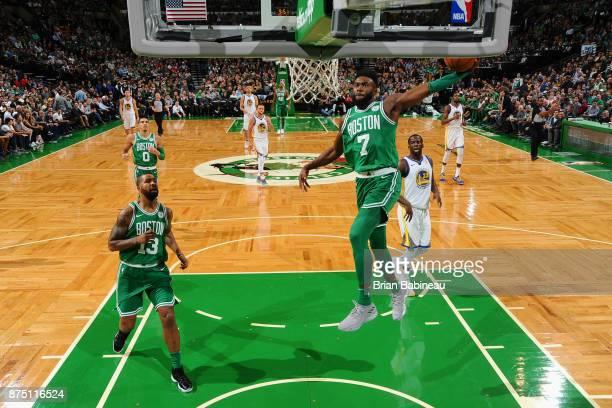 Jaylen Brown of the Boston Celtics goes to the basket against the Golden State Warriors on November 16 2017 at the TD Garden in Boston Massachusetts...