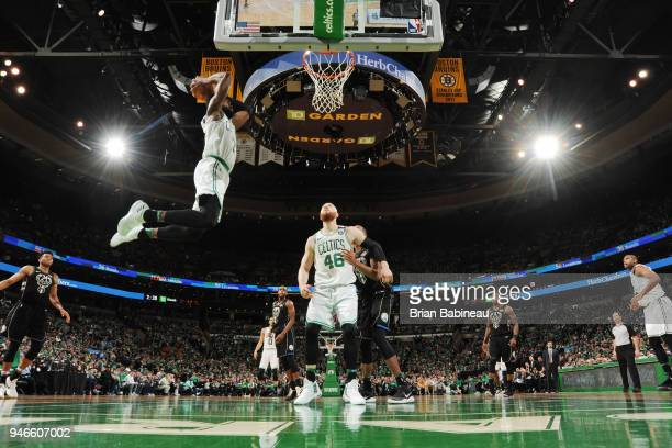 Jaylen Brown of the Boston Celtics goes to the basket against the Milwaukee Bucks in Game One of Round One during the 2018 NBA Playoffs on April 15...