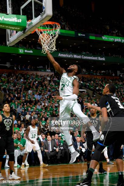 Jaylen Brown of the Boston Celtics goes to the basket against the Milwaukee Bucks in Game Two of Round One of the 2018 NBA Playoffs on April 17 2018...