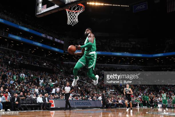 Jaylen Brown of the Boston Celtics goes up for a dunk against the Brooklyn Nets on November 14 2017 at Barclays Center in Brooklyn New York NOTE TO...