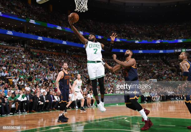 Jaylen Brown of the Boston Celtics goes up for a lay up against the Cleveland Cavaliers during Game Two of the Eastern Conference Finals of the 2017...