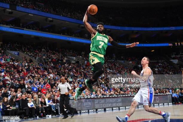 Jaylen Brown of the Boston Celtics goes up for the dunk against the Philadelphia 76ers at Wells Fargo Center on March 19 2017 in Philadelphia...