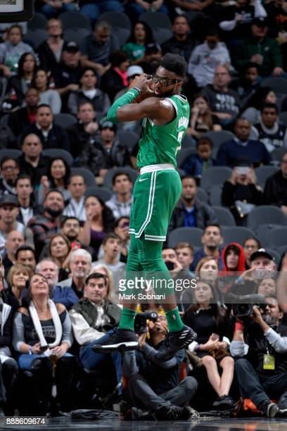 Jaylen Brown of the Boston Celtics grabs the rebound against the San Antonio Spurs on December 8 2017 at the ATT Center in San Antonio Texas NOTE TO...