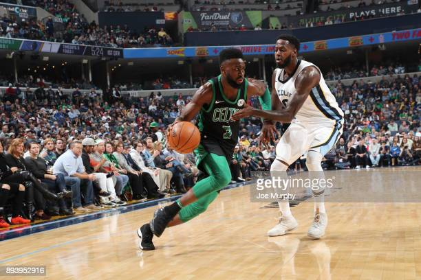 Jaylen Brown of the Boston Celtics handles the ball against JaMychal Green of the Memphis Grizzlies on December 16 2017 at FedEx Forum in Memphis...