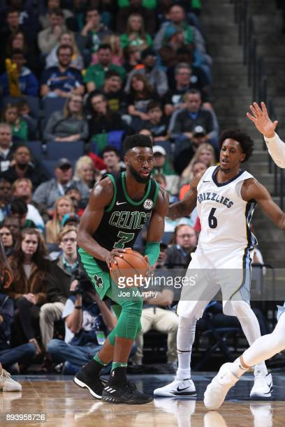 Jaylen Brown of the Boston Celtics handles the ball against Mario Chalmers of the Memphis Grizzlies on December 16 2017 at FedEx Forum in Memphis...