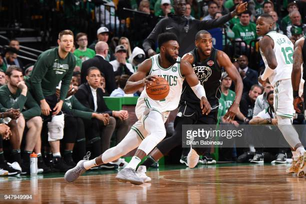 Jaylen Brown of the Boston Celtics handles the ball against the Milwaukee Bucks in Game Two of Round One of the 2018 NBA Playoffs on April 17 2018 at...