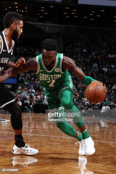 Jaylen Brown of the Boston Celtics handles the ball against the Brooklyn Nets on November 14 2017 at Barclays Center in Brooklyn New York NOTE TO...