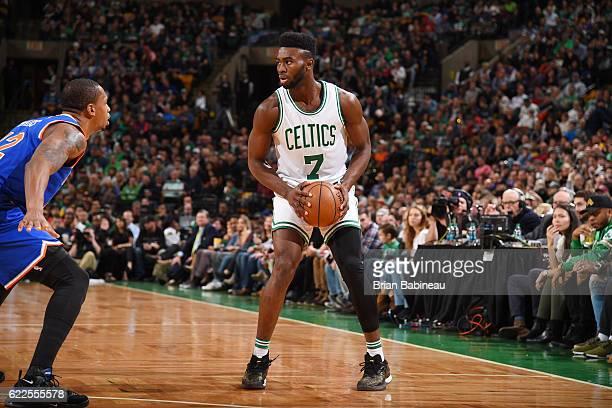 Jaylen Brown of the Boston Celtics handles the ball against the New York Knicks on November 11 2016 at the TD Garden in Boston Massachusetts NOTE TO...