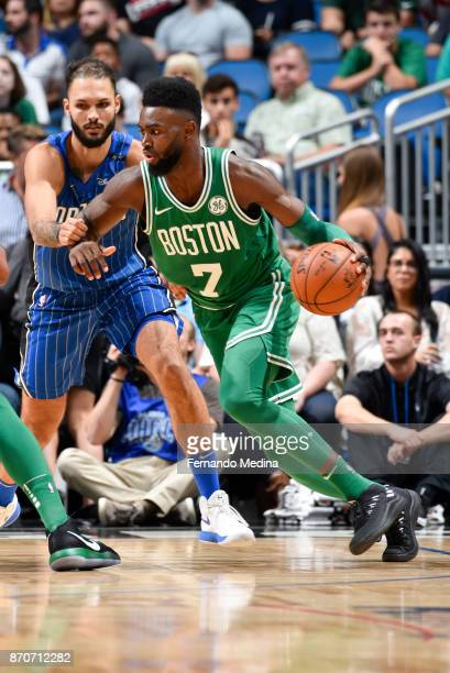 Jaylen Brown of the Boston Celtics handles the ball against the Orlando Magic on November 5 2017 at Amway Center in Orlando Florida NOTE TO USER User...