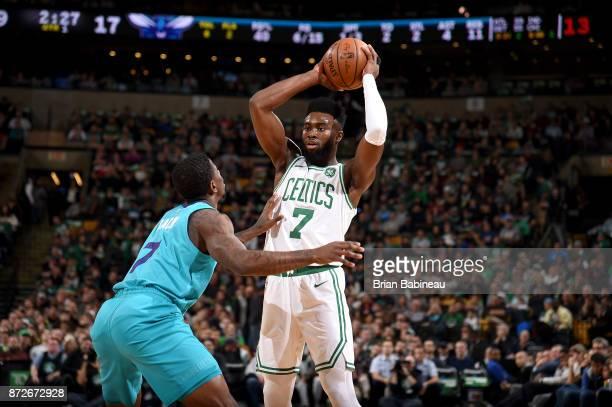 Jaylen Brown of the Boston Celtics handles the ball against the Charlotte Hornets on November 10 2017 at the TD Garden in Boston Massachusetts NOTE...