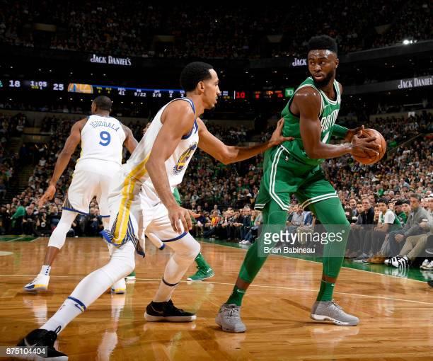 Jaylen Brown of the Boston Celtics handles the ball against the Golden State Warriors on November 16 2017 at the TD Garden in Boston Massachusetts...
