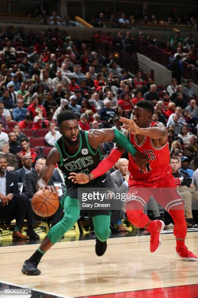 Jaylen Brown of the Boston Celtics handles the ball against the Chicago Bulls on December 11 2017 at the United Center in Chicago Illinois NOTE TO...