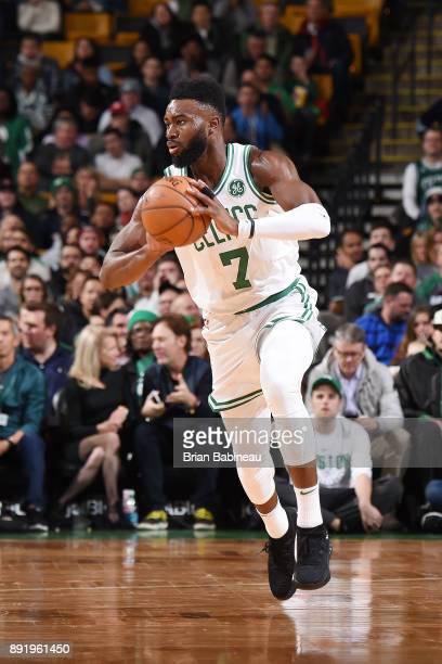 Jaylen Brown of the Boston Celtics handles the ball against the Denver Nuggets on December 13 2017 at the TD Garden in Boston Massachusetts NOTE TO...