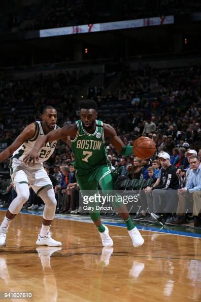 Jaylen Brown of the Boston Celtics handles the ball against the Milwaukee Bucks on April 3 2018 at the BMO Harris Bradley Center in Milwaukee...
