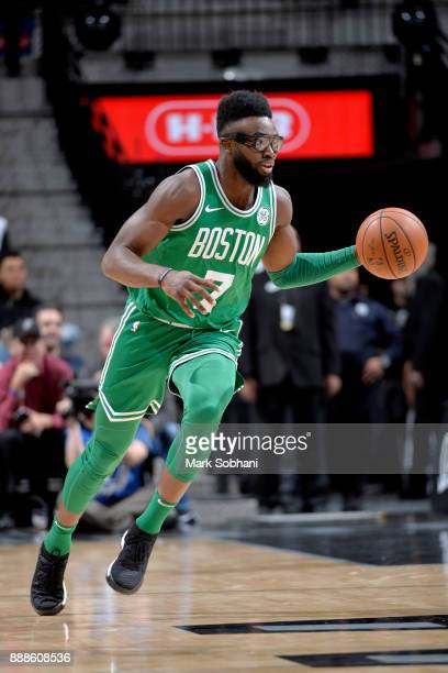 Jaylen Brown of the Boston Celtics handles the ball against the San Antonio Spurs on December 8 2017 at the ATT Center in San Antonio Texas NOTE TO...