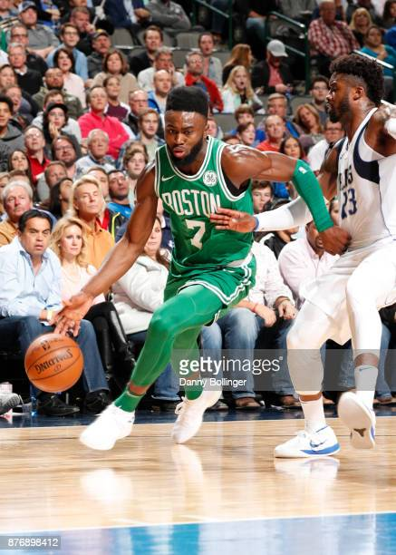 Jaylen Brown of the Boston Celtics handles the ball during the game against the Dallas Mavericks on November 20 2017 at the American Airlines Center...