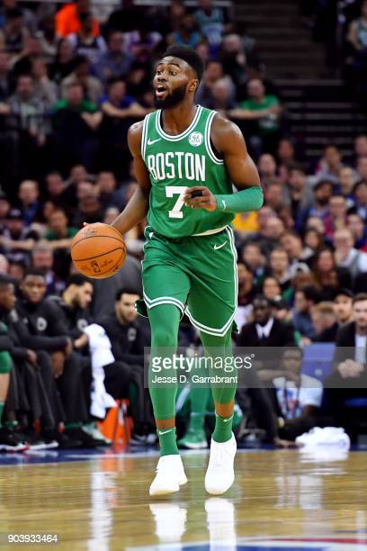 Jaylen Brown of the Boston Celtics handles the ball during the game against the Philadelphia 76ers on January 11 2018 at The O2 Arena in London...