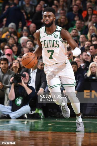 Jaylen Brown of the Boston Celtics handles the ball during the game against the Atlanta Hawks on February 2 2018 at the TD Garden in Boston...