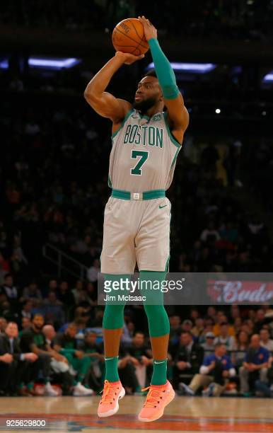 Jaylen Brown of the Boston Celtics in action against the New York Knicks at Madison Square Garden on February 24 2018 in New York City The Celtics...