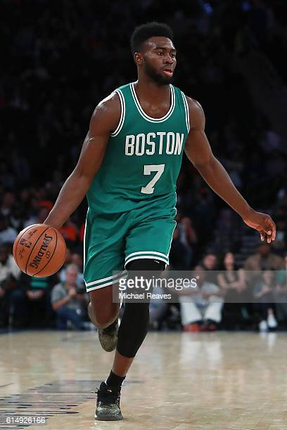 Jaylen Brown of the Boston Celtics in action against the New York Knicks during the second half of their preseason game at Madison Square Garden on...