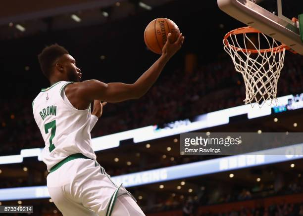 Jaylen Brown of the Boston Celtics lays up druing the first quarter of the game against the Toronto Raptors at TD Garden on November 12 2017 in...