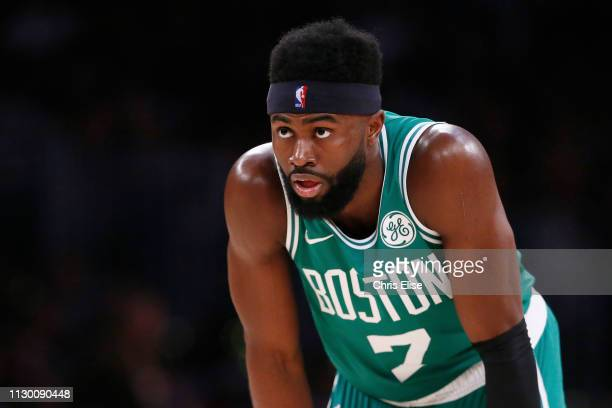 Jaylen Brown of the Boston Celtics looks on against the Los Angeles Lakers on March 9 2019 at STAPLES Center in Los Angeles California NOTE TO USER...