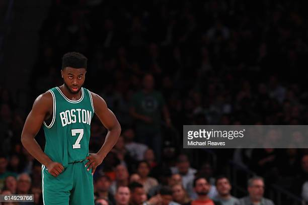Jaylen Brown of the Boston Celtics looks on against the New York Knicks during the second half of their preseason game at Madison Square Garden on...