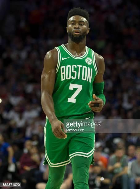 Jaylen Brown of the Boston Celtics looks on against the Philadelphia 76ers at the Wells Fargo Center on October 20 2017 in Philadelphia Pennsylvania...