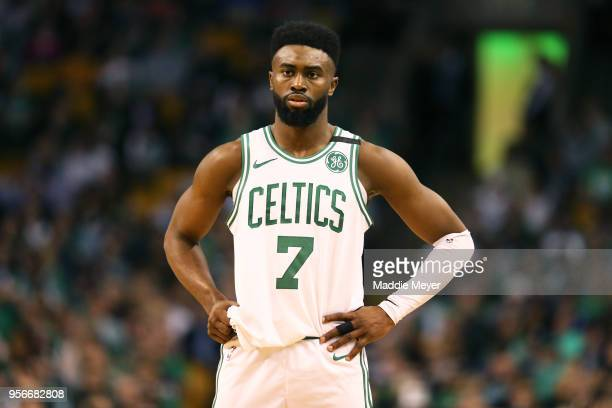 Jaylen Brown of the Boston Celtics looks on during Game Five of the Eastern Conference Second Round of the 2018 NBA Playoffs at TD Garden on May 9...
