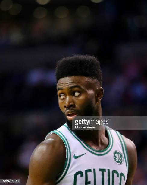Jaylen Brown of the Boston Celtics looks on during the first half against the New York Knicks at TD Garden on October 24 2017 in Boston Massachusetts