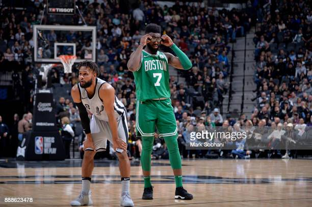 Jaylen Brown of the Boston Celtics looks on during the game against the San Antonio Spurs on December 8 2017 at the ATT Center in San Antonio Texas...
