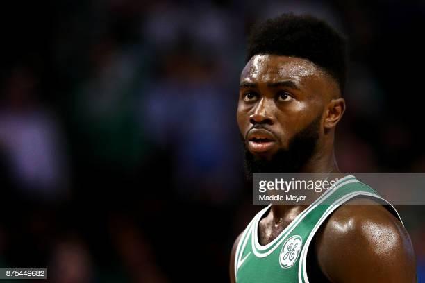 Jaylen Brown of the Boston Celtics looks on during the third quarter against the Golden State Warriors at TD Garden on November 16 2017 in Boston...