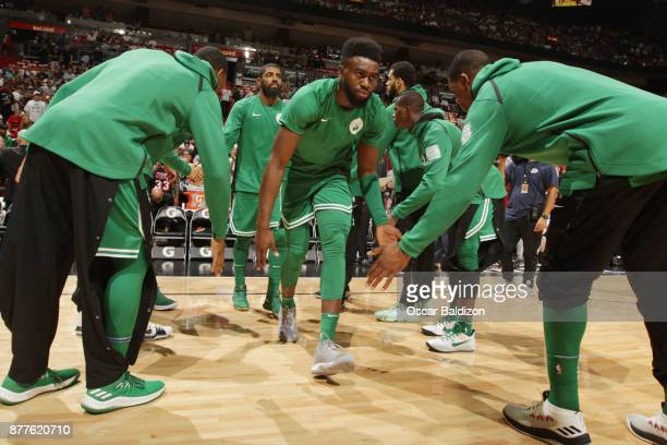 Jaylen Brown of the Boston Celtics makes his entrance before the game against the Miami Heat on November 22 2017 at American Airlines Arena in Miami...