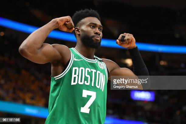 Jaylen Brown of the Boston Celtics reacts after a basket in the fourth quarter against the Cleveland Cavaliers during Game Four of the 2018 NBA...