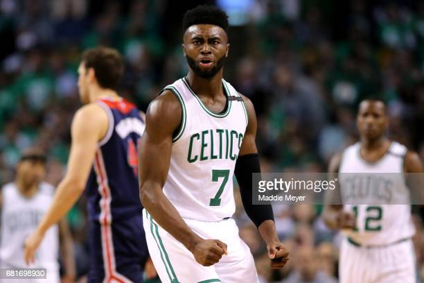 Jaylen Brown of the Boston Celtics reacts after a foul is called against him during the second half of Game Five of the Eastern Conference Semifinals...