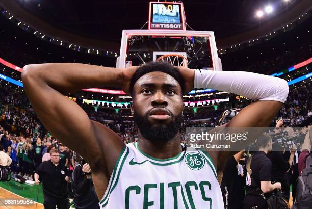 Jaylen Brown of the Boston Celtics reacts after being defeated by the Cleveland Cavaliers 8779 in Game Seven of the 2018 NBA Eastern Conference...
