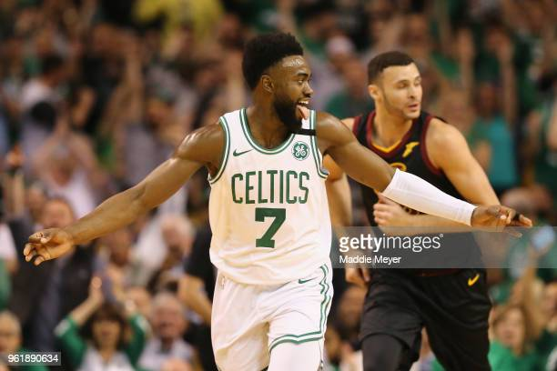 Jaylen Brown of the Boston Celtics reacts after making a three point basket in the first half against the Cleveland Cavaliers during Game Five of the...