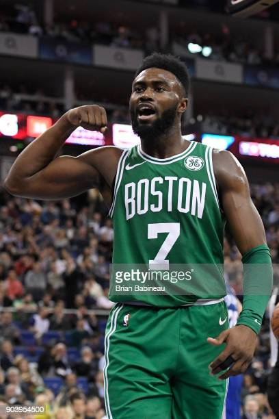 Jaylen Brown of the Boston Celtics reacts during the game against the Philadelphia 76ers during the 2018 NBA London Game at the 02 Arena on January...