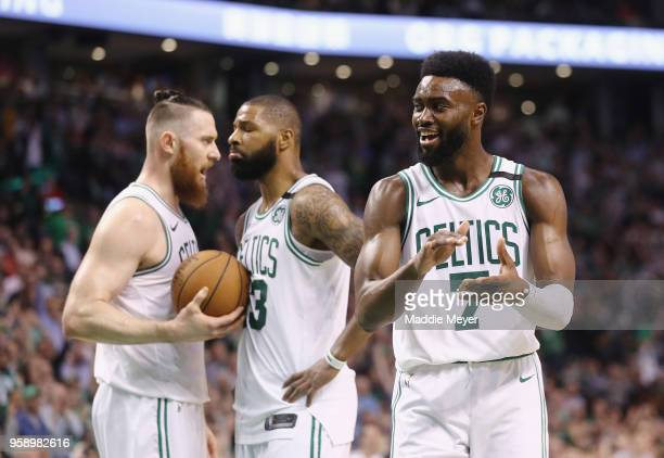 Jaylen Brown of the Boston Celtics reacts in the second half against the Cleveland Cavaliers during Game Two of the 2018 NBA Eastern Conference...