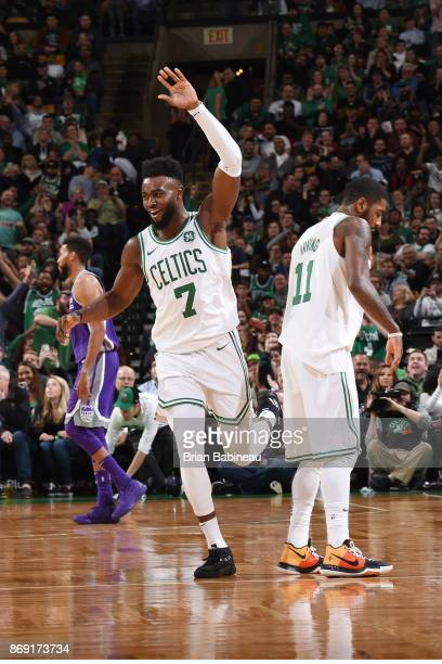 Jaylen Brown of the Boston Celtics reacts to a play against the Sacramento Kings on November 1 2017 at the TD Garden in Boston Massachusetts NOTE TO...