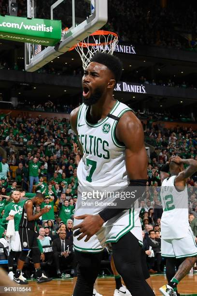 Jaylen Brown of the Boston Celtics reacts to a play during the game against the Milwaukee Bucks in Game One of Round One during the 2018 NBA Playoffs...