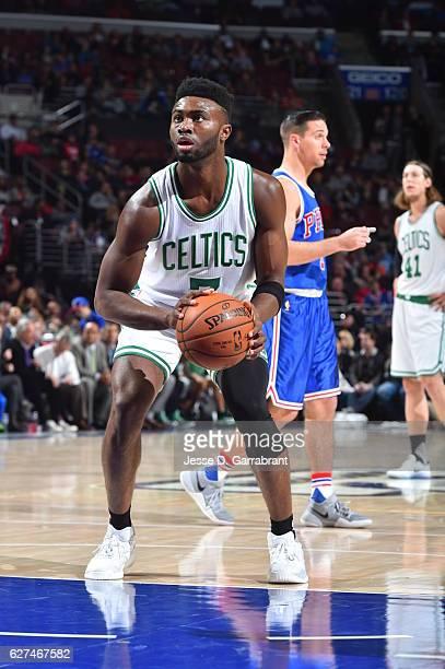 Jaylen Brown of the Boston Celtics shoots a foul shot against the Philadelphia 76ers at Wells Fargo Center on December 3 2016 in Philadelphia...