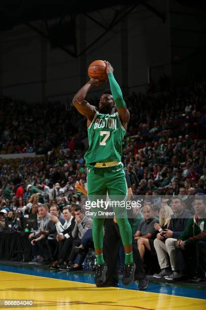 Jaylen Brown of the Boston Celtics shoots the ball against the Milwaukee Bucks on October 26 2017 at the UWMilwaukee Panther Arena in Milwaukee...