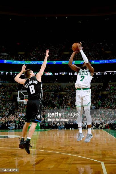 Jaylen Brown of the Boston Celtics shoots the ball against the Milwaukee Bucks in Game Two of Round One of the 2018 NBA Playoffs on April 17 2018 at...