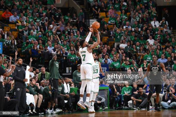 Jaylen Brown of the Boston Celtics shoots the ball against the Milwaukee Bucks Game Five of Round One of the 2018 NBA Playoffs on April 24 2018 at...