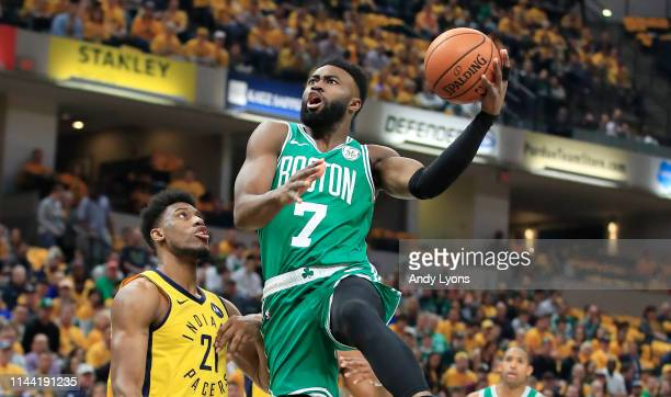 Jaylen Brown of the Boston Celtics shoots the ball against the Indiana Pacers in game four of the first round of the 2019 NBA Playoffs at Bankers...